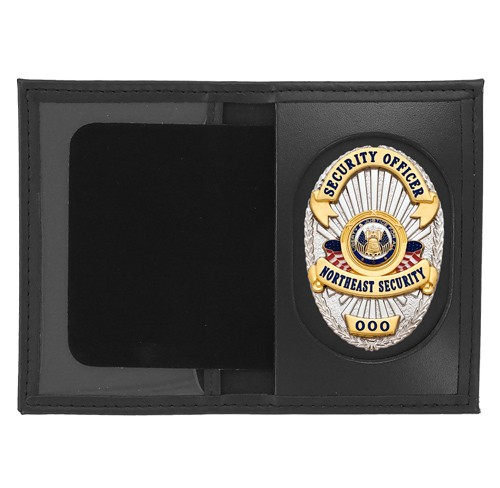 Dress Leather Book Style ID & Badge Case with Universal Cutout