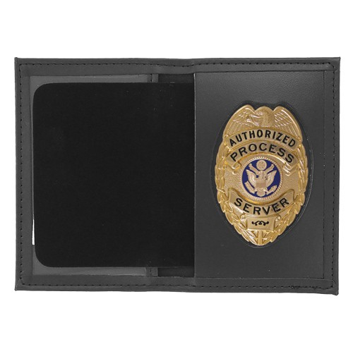 Dress Leather Book Style ID & Badge Case with Oval Shield Cutout