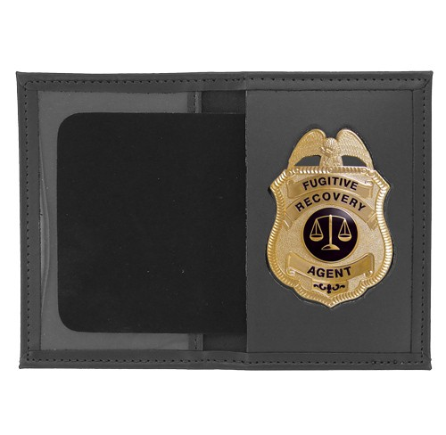 Dress Leather Book Style ID & Badge Case with Metro Shield Cutout
