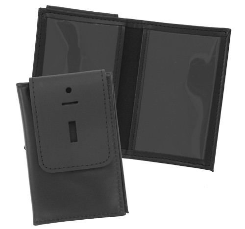Thin Line Double ID Case with Badge Flap (flap view)