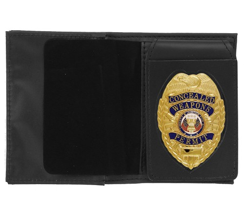 4 in 1 Dress Leather ID & Badge Case with Pointed Shield Cutout
