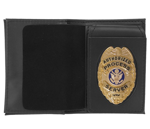 4 in 1 Dress Leather ID & Badge Case with Oval Shield Cutout
