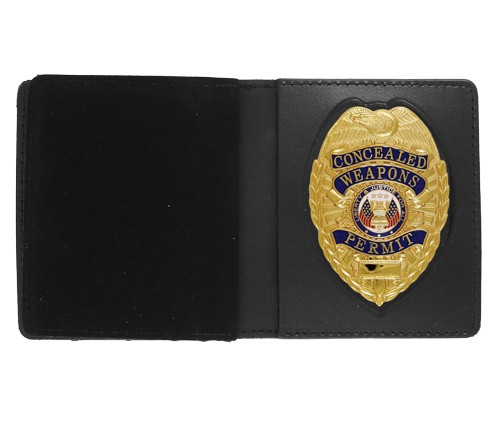 Bifold Leather Badge & Double ID Case with Pointed Shield Cutout