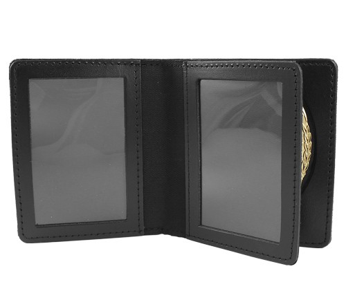 Bifold Leather Badge & Double ID Case (ID Window View)