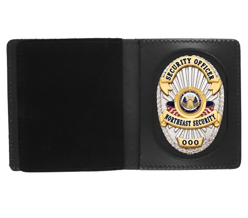 Bifold Leather Badge & Double ID Case with Universal Cutout