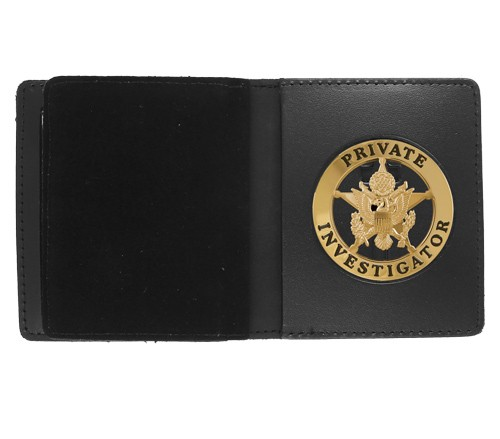 Bifold Leather Badge & Double ID Case with 2 1/4'' Round Cutout