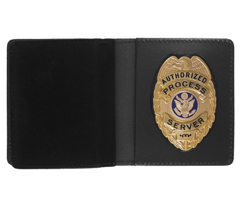 Bifold Leather Badge & Double ID Case with Oval Shield Cutout