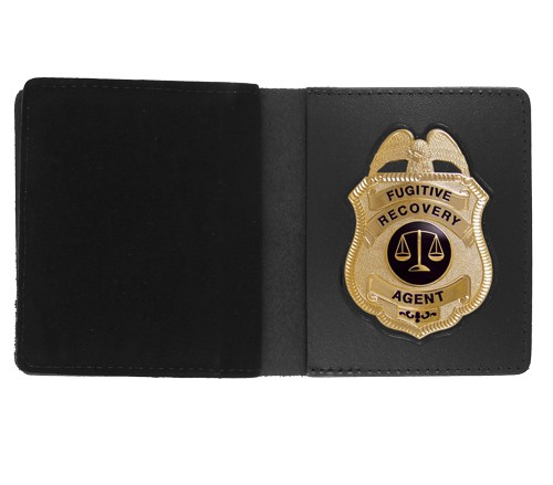 Bifold Leather Badge & Double ID Case with Metro Shield Cutout