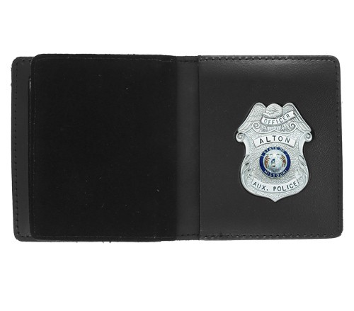 Bifold Leather Badge & Double ID Case with Custom Cutout