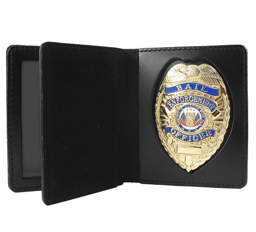 Bifold Leather Badge & Double ID Case