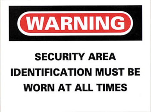 Security Area Wear ID At All Times Sticker 10-pack