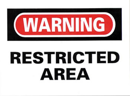Warning Restricted Area Sticker 10-pack