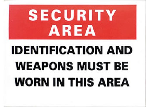 Security Area Identification & Weapons Must Sticker 10-pack