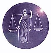 Round Lady Justice Foil Hologram