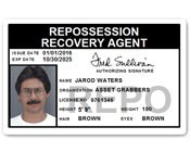 Repo Recovery Agent PVC ID Card