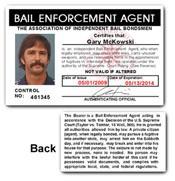 Bail Enforcement Agent PVC ID Card C73PVC