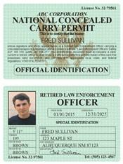 Retired LEO Concealed Carry Permit Classic Folio