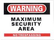 Maximum Security Area Sticker 10-pack