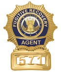 Sunburst Semi Custom Fugitive Recovery Agent Badge