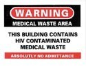 Building Contains HIV Waste Sticker 10-pack