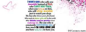 I want a guy... Facebook Cover Photo