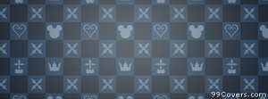 blue and grey mickey checkered pattern Facebook Cover Photo