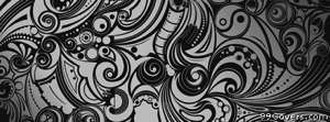 black and white swirl doodles Facebook Cover Photo