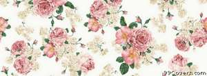 pink rose floral pattern Facebook Cover Photo
