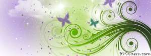 purple and green floral swirl pattern Facebook Cover Photo