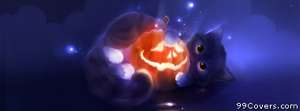 cat with a halloween pumpkin Facebook Cover