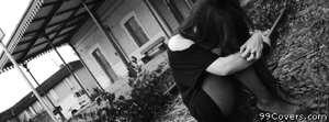 sad girl black and white Facebook Cover Photo