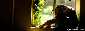 sad girl at the window Facebook Cover Photo