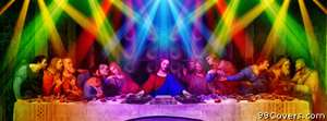 funny multicolor DJ Jesus Christ scene Facebook Cover Photo