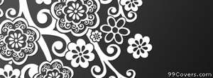floral grey white shadow Facebook Cover Photo