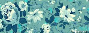 painted flowers blue Facebook Cover Photo