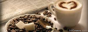 white coffee and beans Facebook Cover Photo
