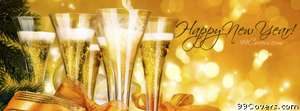 New years champagne Facebook Cover Photo