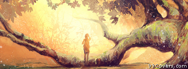 sun trees fantasy art Facebook Cover
