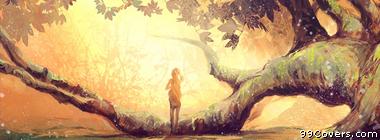 sun trees fantasy art Facebook Cover Photo