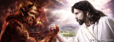 Jesus Christ Satan fantasy art Facebook Cover Photo