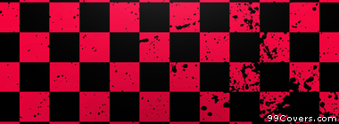 red and black splater checkered pattern Facebook Cover Photo