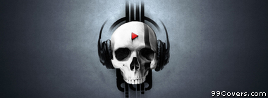 skull with headphones Facebook Cover Photo