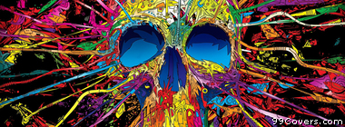 colorful abstract skull  Facebook Cover Photo