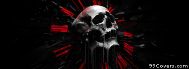 red black white abstract skull Facebook Cover Photo