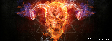 demon fire skull Facebook Cover Photo