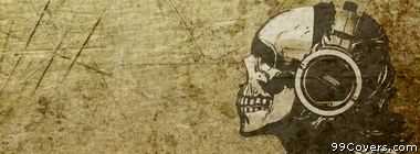 skull with headphones grunge Facebook Cover Photo