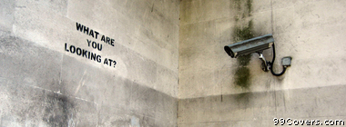 Banksy Street Art what are you looing at Facebook Cover Photo