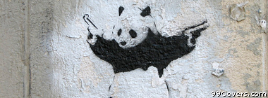 Street Art panda holding guns Facebook Cover Photo