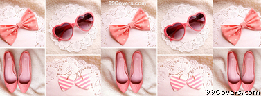 pink bow Fashion Collage Facebook Cover