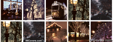 Christmas Lights Collage Facebook Cover Photo